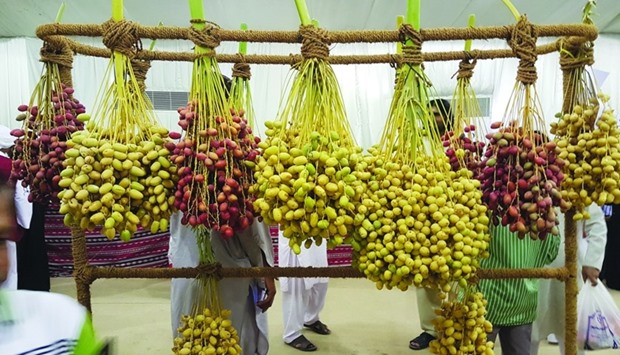 The festival showcases some of the popular varieties of dates produced by local farms.
