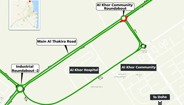 Partial closure at Al Khor Community Roundabout