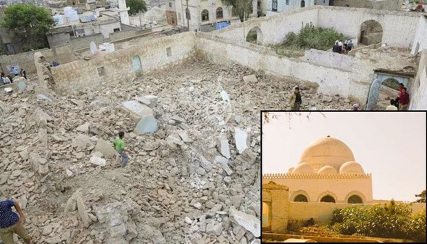 The mosque of Sheikh Abdulhadi al-Sudi after destruction. Inset shows a file picture of the mosque.