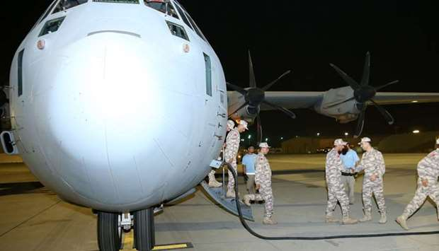 Turkish troops on their arrival in Doha.