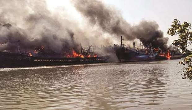 Massive fire destroys boats in Indonesia
