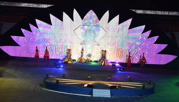Faro (C), the mascot of Francophonie 2017, appears on stage during the opening ceremony