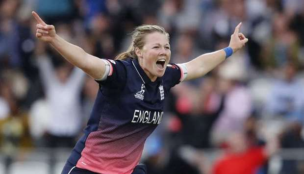 England's Anya Shrubsole celebrates taking the wicket of India's Jhulan Goswami during the ICC Women