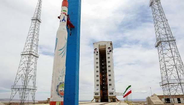 A Simorgh (Phoenix) satellite rocket at its launch site at an undisclosed location in Iran.
