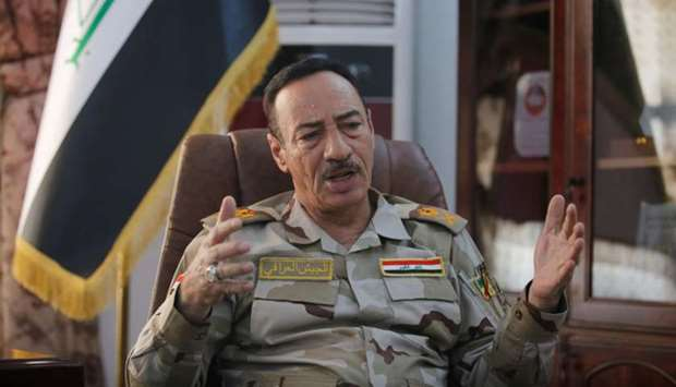 An Iraqi top army general, Major General Najm Abdullah al-Jubbouri speaks during an interview with R
