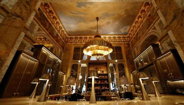 A view shows the Les Ambassadeurs dining room at the Hotel de Crillon, A Rosewood Hotel in Paris