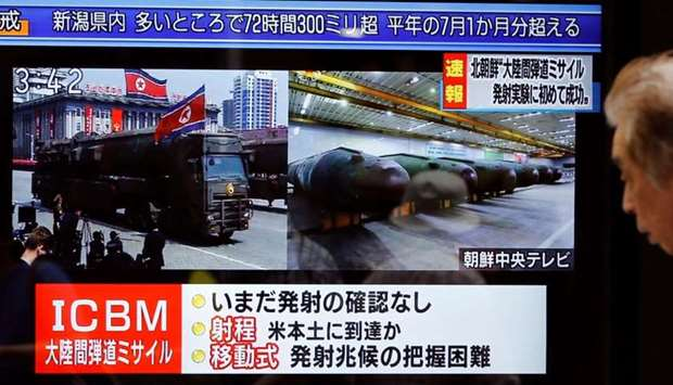 A street monitor showing news of North Korea firing a ballistic missile in Tokyo