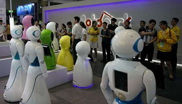 Robots are displayed at 2017 China International Robot Show