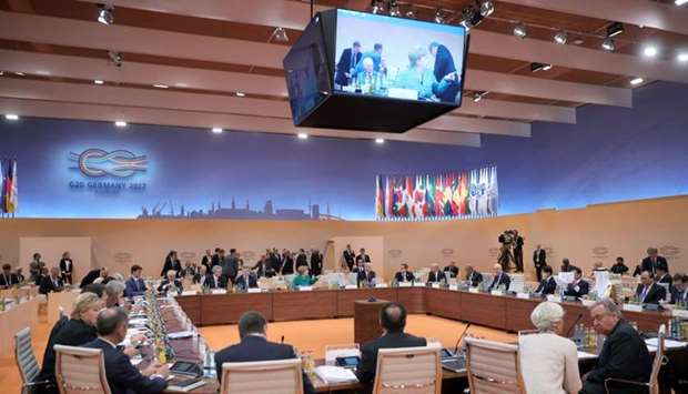 Leaders attends a working session at the G20 leaders' summit in Hamburg, Germany