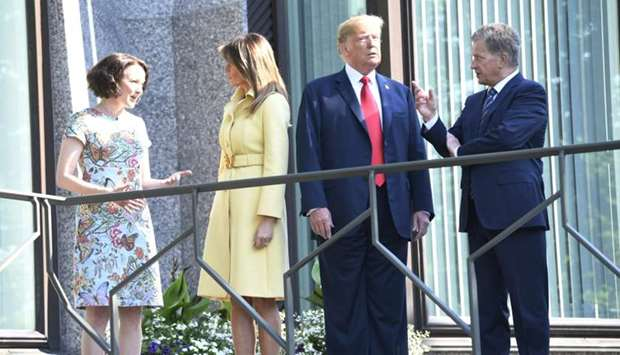 US President Donald Trump, first lady Melania Trump, Finland's President Sauli Niinisto his wife Jen
