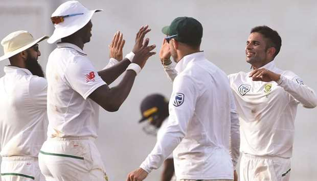 South Africa bounce back with Maharaj's eight-for