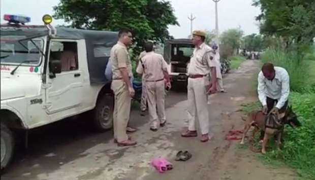 Police team at the spot where Akbar was beaten to death in Rajasthan, India