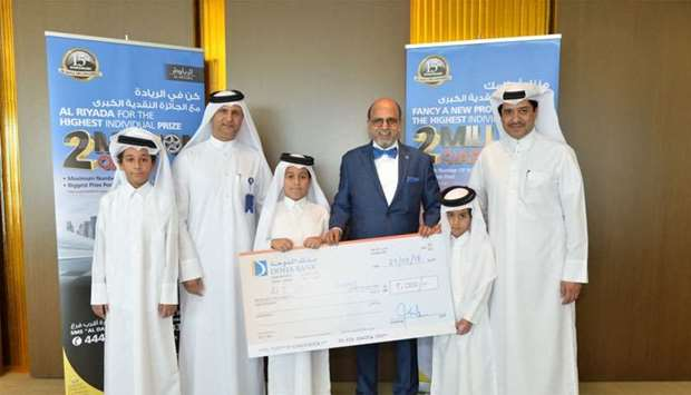 Doha Bank CEO Dr R Seetharaman during the awarding of the ceremonial cheque to the bank's latest win