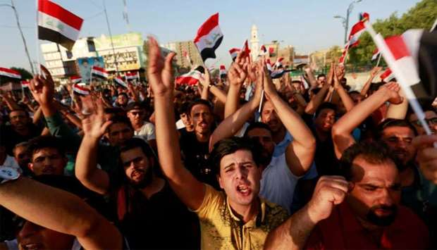 People protest over poor public services in the city of Najaf, Iraq