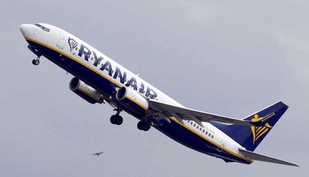 Ryanair Boeing 737-800 passenger jet takes off in Colomiers near Toulouse, France.