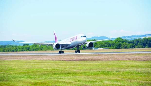Qatar Airways Airbus A350 lands at Edinburgh Airport