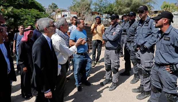 European General Consuls are blocked by Israeli police as they want to visit the Palestinian Bedouin