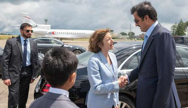 French DefenseMinister Florence Parly receives His Highness the Amir Sheikh Tamim bin Hamad Al-Thani