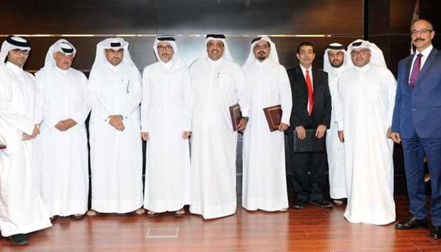 HE the Minister of Culture and Sports Salah bin Ghanem bin Nasser al-Ali with other dignitaries at t