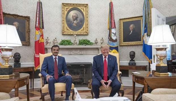 His Highness the Amir Sheikh Tamim bin Hamad al-Thani with the US President Donald Trump in the Whit