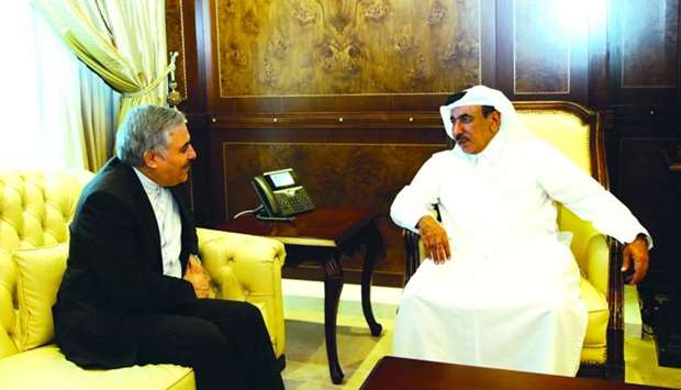 HE Minister of Transport and Communications Jassim Saif Ahmed al-Sulaiti speaking with Iran ambassad