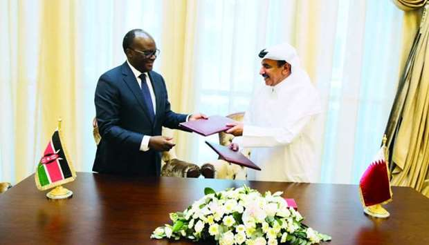 HE the Minister of Transport and Communications Jassim Saif Ahmed al-Sulaiti (right) and Kenyan Mini