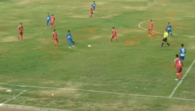 A still image from a streamed live video of a game between Persibara Banjarnegara and PSIP Pemalang