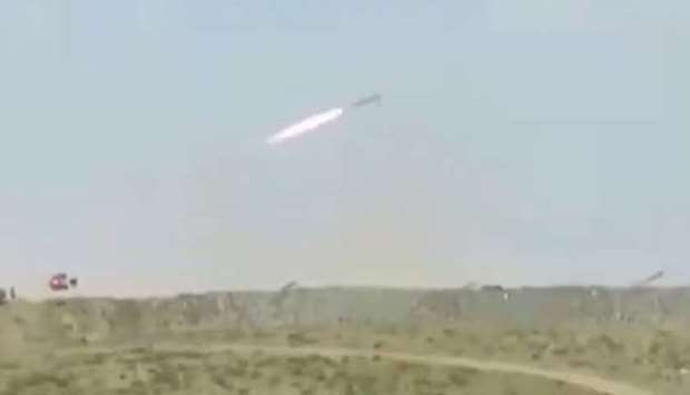 A missile being fired by Iran's elite Revolutionary Guards