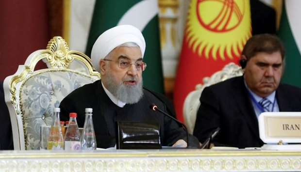Iranian President Hassan Rouhani delivers a speech at the Conference on Interaction and Confidence-B