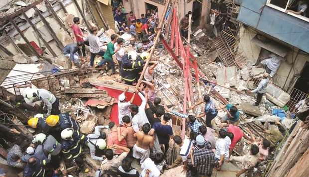 Rescue operations underway at Kesarbai building – a four-storey building that collapsed in south Mum