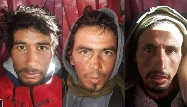 Rachid Afatti (L), Ouziad Younes (C), and Ejjoud Abdessamad (R), the three suspects in the grisly mu