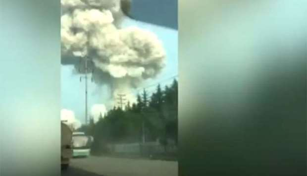 Smoke bellows from China plant explosion