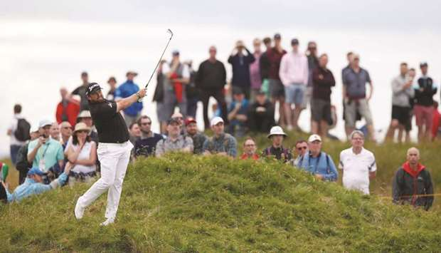 Republic of Ireland's Shane Lowry in action on the 10th hole during the third round yesterday.