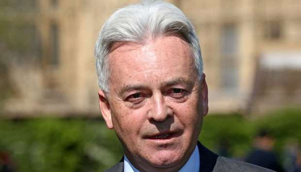 Minister of State for Europe and the Americas Alan Duncan attends a news conference in London, April