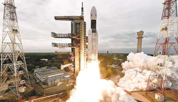 The Geosynchronous Satellite Launch Vehicle Mk III-M1 blasts off carrying Chandrayaan-2