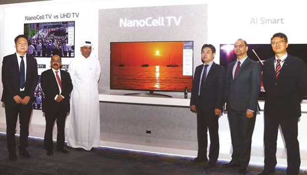 LG and Jumbo Electronics senior officials at the unveiling of new OLED and NanoCell televisions yest