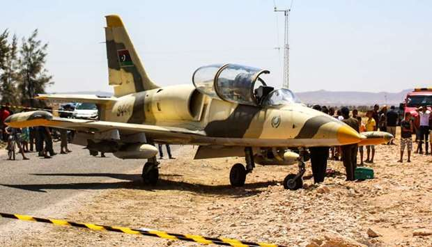 The Libyan L-39 Albatros warplane belonging to forces of strongman Khalifa Haftar, after it made an