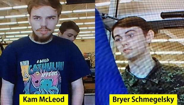 The photos of Kam McLeod and Bryer Schmegelsky released by  the Royal Canadian Mounted Police