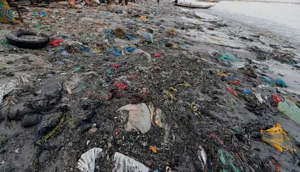 Plastic waste is seen at a fishermen port on the outskirts of Dakar, Senegal