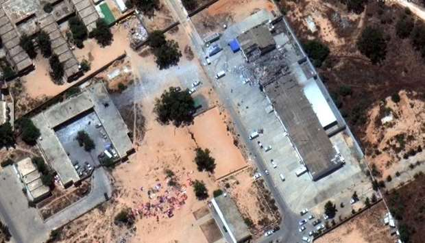 Satellite imagery of the aftermath of the airstrike that hit a migrant centre in the Tajoura suburb