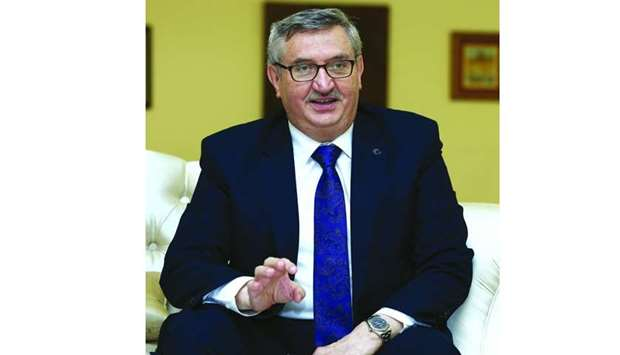 Turkish ambassador Fikret Ozer during a press conference in Doha