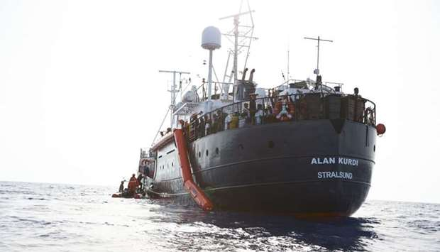"Vessel ""Alan Kurdi"" during an operation during which they rescued 65 people from an overloaded  rubb"