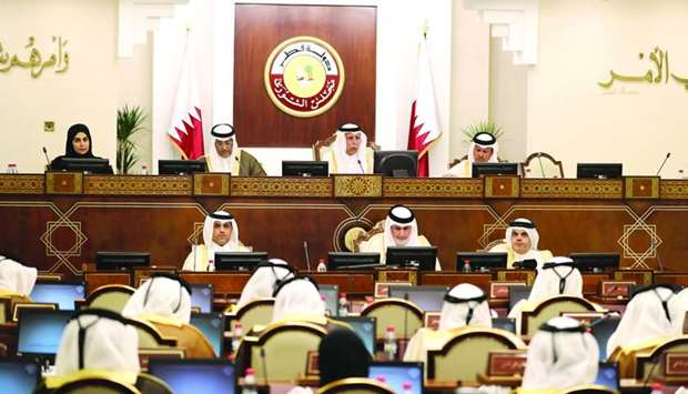 HE the Advisory Council's Speaker Ahmed bin Abdullah bin Zaid al-Mahmoud chairing Monday's session.