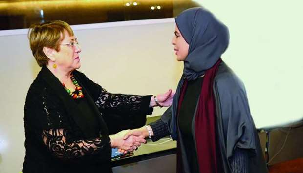 Sabah al-Haidoos with Michelle Bachelet