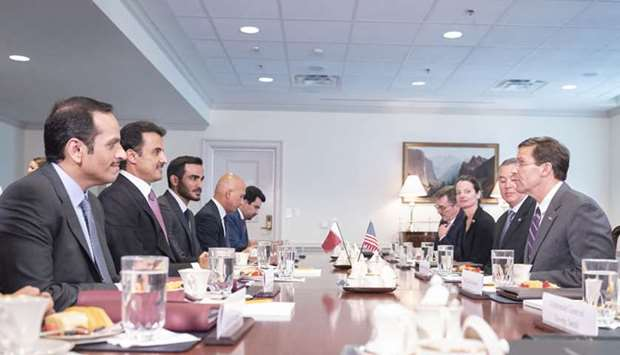 His Highness the Amir Sheikh Tamim bin Hamad al-Thani and acting US Defence Secretary Mark Esper hol