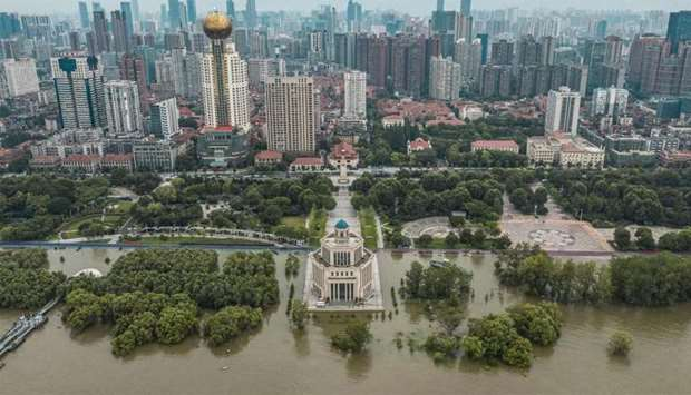 Aerial photo shows a closed park due to the high water level of the Yangtze River in Wuhan in China'