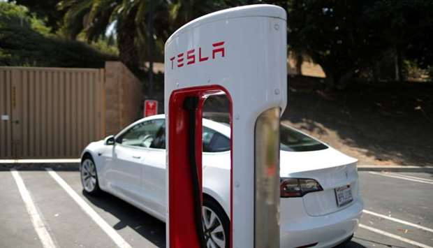 A Tesla SuperCharger station is seen in Los Angeles, California,