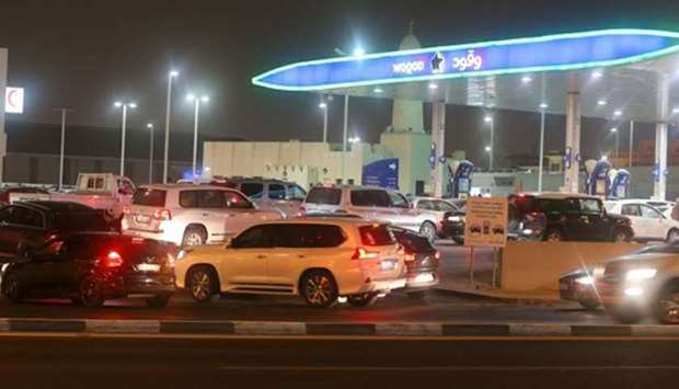 A petrol station in Doha