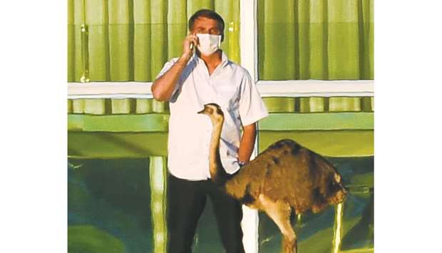Brazilian President Jair Bolsonaro speaks on a mobile phone next to an emu outside the Alvorada Pala