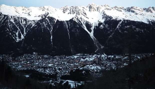 This file photograph taken on February 13, 2020, shows a view of the town and ski resort of Chamonix